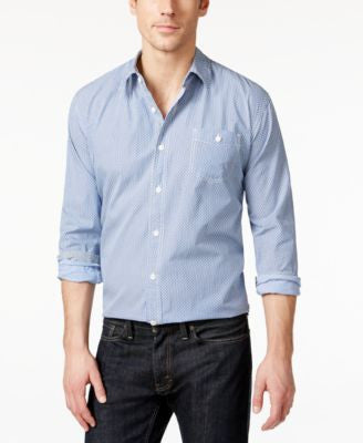 Weatherproof Vintage Men's Chambray Diamond-Pattern Long-Sleeve Shirt
