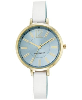 Nine West Women's White and Light Blue Leather Strap Watch 35mm NW-1860LBWT