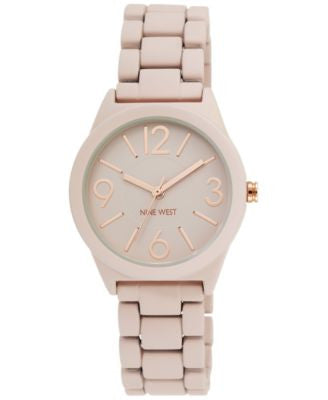 Nine West Women's Blush Rubber Strap Watch 32mm NW-1812PKRG