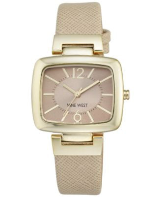 Nine West Women's Natural Leather Strap Watch 36mm NW/1856NTNT