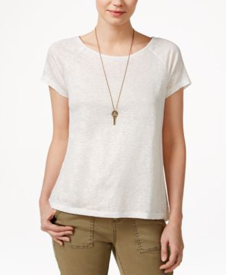 Maison Jules Metallic Lace-Back T-Shirt, Only at Vogily