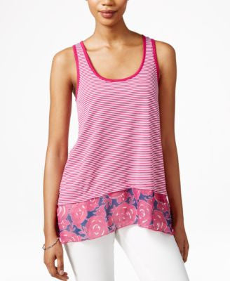 Maison Jules Floral-Print Contrast Tank Top, Only at Vogily