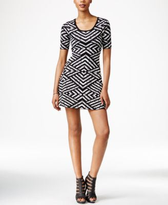 Bar III Printed Fit & Flare Sweater Dress, Only at Vogily