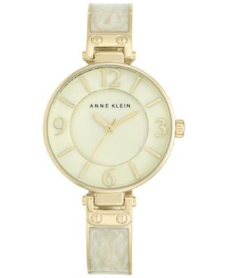 Anne Klein Women's Two-Tone Stainless Steel and Enamel Bracelet Watch 34mm AK-2210IMGB