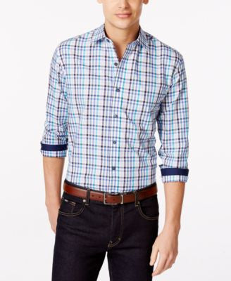 Tasso Elba Blue Fancy Gingham Big & Tall Shirt, Only at Vogily