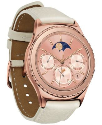 Samsung Unisex Gear S2 18k Rose Gold-Plated Classic Ivory Leather Strap Smartwatch 40mm SM-R7320ZDAX