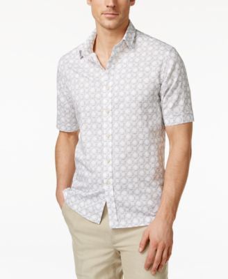 Tasso Elba Men's Linen Print Short-Sleeve Shirt, Only at Vogily