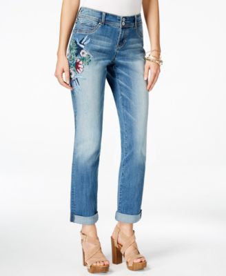 INC International Concepts Petite Embroidered Boyfriend Jeans, Only at Vogily