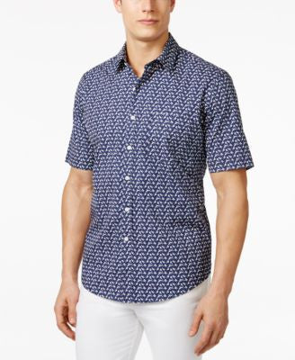 Club Room Men's Printed Short-Sleeve Shirt, Only at Vogily