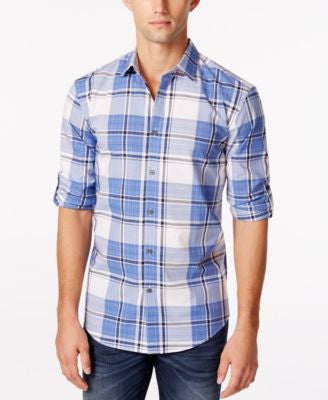 Alfani Men's Big & Tall Slim-Fit Cordoba Plaid Shirt, Only at Vogily