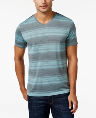 Alfani Men's Big and Tall V-Neck Striped T-Shirt, Only at Vogily