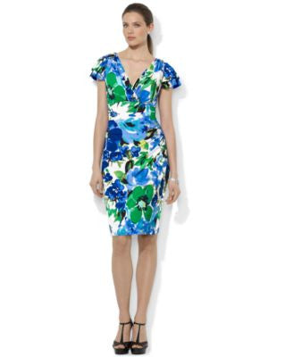 Lauren Ralph Lauren Plus Size Floral-Print Flutter-Sleeve Dress