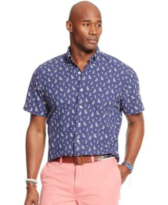 Polo Ralph Lauren Men's Big & Tall Short-Sleeve Printed Oxford Shirt
