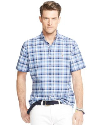 Polo Ralph Lauren Men's Big & Tall Plaid Oxford Short-Sleeve Shirt