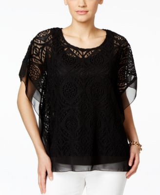 JM Collection Crochet Chiffon-Hem Poncho Top, Only at Vogily
