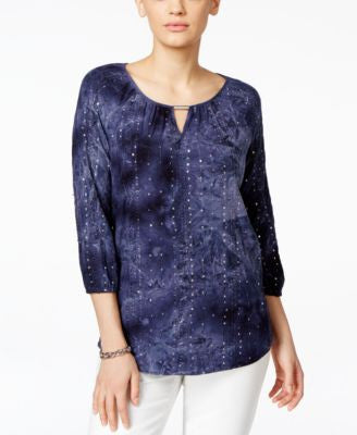 JM Collection Embellished Tie-Dyed Blouse, Only at Vogily