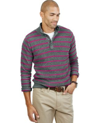 Nautica Striped Buttoned Mock-Neck Sweater