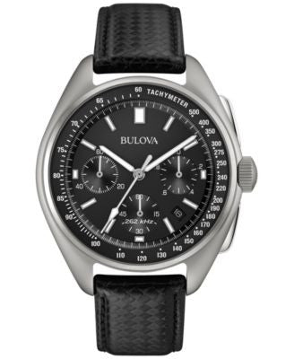 Bulova Men's Special Edition Moon Chronograph Black Leather Strap Watch & Nylon Strap 45mm 96B251