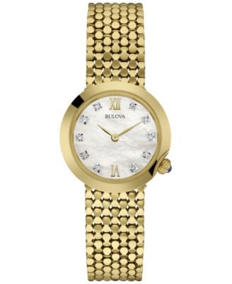 Bulova Women's Diamond Accent Gold-Tone Stainless Steel Mesh Bracelet Watch 28mm 97P114