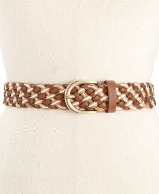 Style & Co. Multi Textured Woven Belt, Only at Vogily