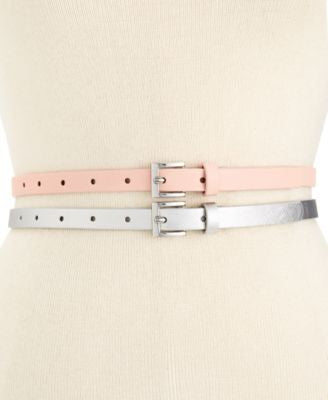 Style & Co. Saffiano 2 For 1 Skinny Belts, Only at Vogily
