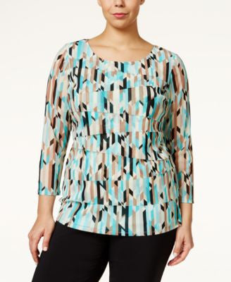Alfani Plus Size Geo-Print Tiered Top, Only at Vogily