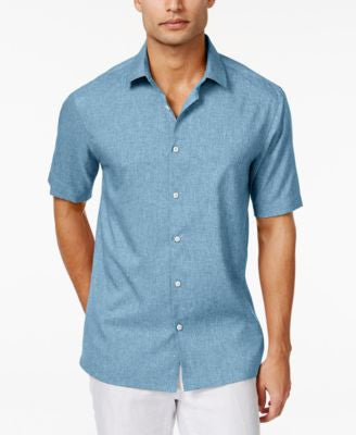 Alfani Men's Short-Sleeve Two-Tone Solid Shirt, Only at Vogily