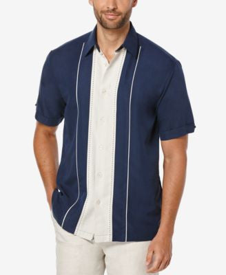 Cubavera Men's Colorblocked Panel Short-Sleeve Shirt