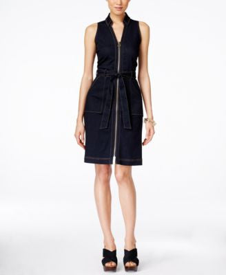 INC International Concepts Petite Belted Denim Dress, Only at Vogily