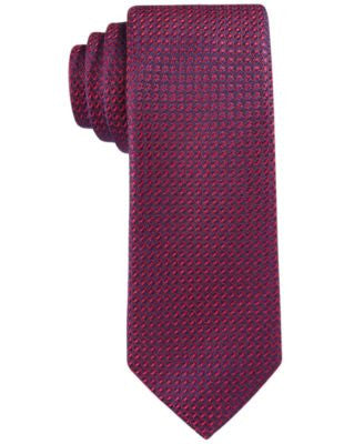 Con.Struct Men's Red Texture-Grid Slim Tie