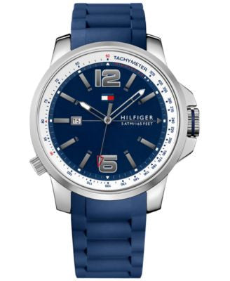 Tommy Hilfiger Men's Cool Sport Blue Silicone Strap Watch 46mm 1791220
