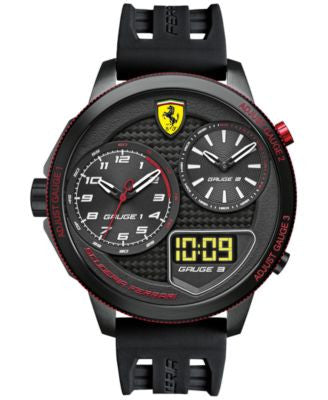 Scuderia Ferrari Men's Analog-Digital XX Kers Black Silicone Strap Watch 54mm 0830318