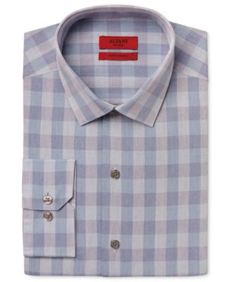 Alfani Men's Fitted Performance Teal Oversized-Gingham Dress Shirt, Only at Vogily