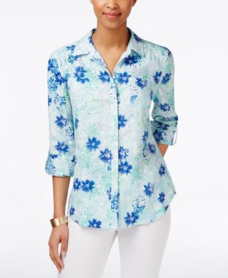 Charter Club Floral-Print Linen Shirt, Only at Vogily