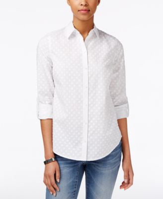 Charter Club Petite Textured Dot Shirt, Only at Vogily