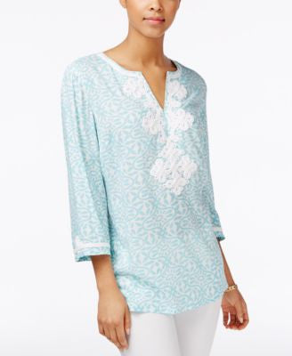 Charter Club Printed Embroidered Tunic, Only at Vogily