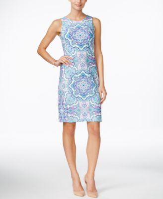 Charter Club Petite Printed Sleeveless Sheath Dress, Only at Vogily