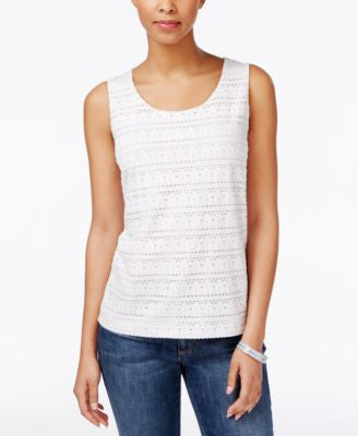 Charter Club Eyelet Tank Top, Only at Vogily