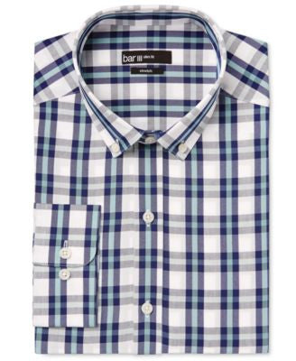 Bar III Men's Slim-Fit Mint Mega-Check Dress Shirt, Only at Vogily