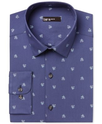 Bar III Men's Slim-Fit Navy Big Wheel Bike-Print Dress Shirt, Only at Vogily