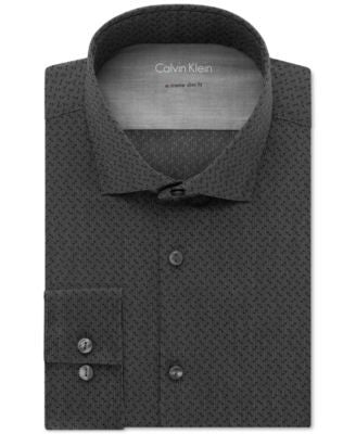 Calvin Klein Men's X Extra Slim-Fit Stretch Black Double-Dot Dress Shirt