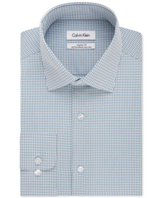 Calvin Klein Men's Steel Classic-Fit Non-Iron Performance Bermuda Blue Gingham Dress Shirt