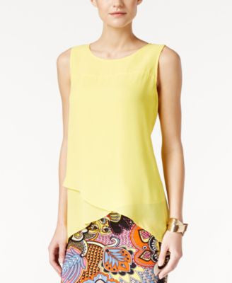 Cable & Gauge Crossover Chiffon Asymmetrical Hem Top