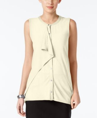 August Silk Sleeveless Chiffon-Overlay Blouse