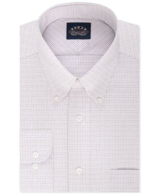 Eagle Men's Slim-Fit Non-Iron Lavender Tattersal Check Dress Shirt