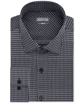 Kenneth Cole Reaction Slim-Fit Dry-Tek Performance Black Check Dress Shirt