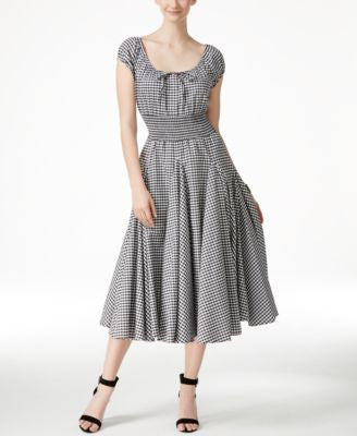 Grace Elements Gingham-Print Peasant Dress