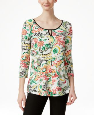 Miraclesuit Floral-Print Three-Quarter-Sleeve Top