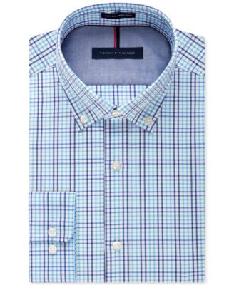 Tommy Hilfiger Men's Slim-Fit Non-Iron Aqua Multi-Check Dress Shirt