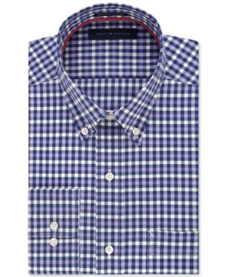 Tommy Hilfiger Men's Non-Iron Purple Multi-Check Dress Shirt